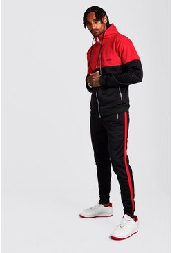 Black Original MAN Tricot Colour Block Hooded Tracksuit