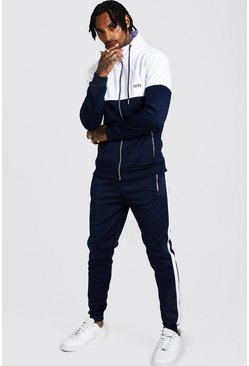 Mens Navy Original MAN Tricot Colour Block Hooded Tracksuit