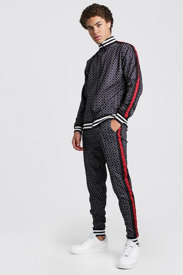 Mens Black Tricot Printed Tracksuit With Contrast Rib