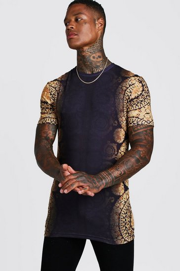 Mens Black Muscle Fit Baroque Faded Print Longline T-Shirt
