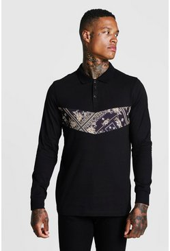 Mens Black Muscle Fit Baroque Panel Long Sleeve Polo