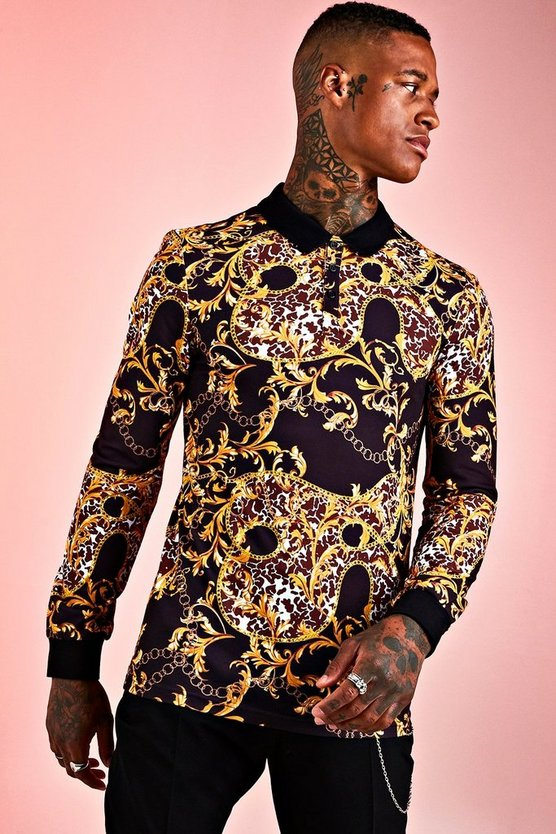 Black Muscle Fit Baroque Long Sleeve Polo