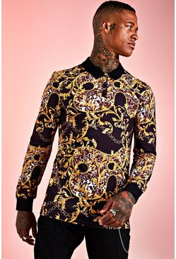 Herr Black Muscle Fit Baroque Long Sleeve Polo
