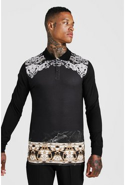 Mens Black Muscle Fit Baroque Placement Print Long Sleeve Polo
