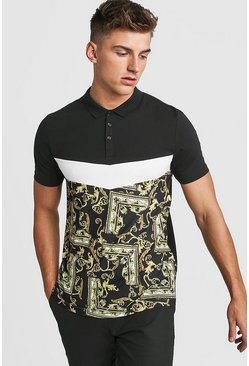 Mens Black Muscle Fit Baroque Panelled Polo
