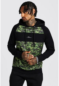Mens MAN Signature Camo Panel Taglan Hoodie