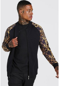 Mens Black Baroque Sleeve Jersey Bomber