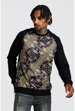 Black Baroque Print Sweatshirt