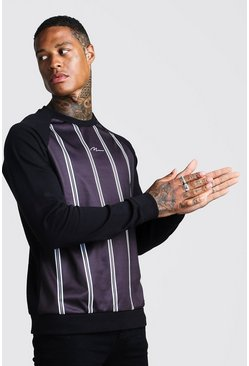 Mens Black MAN Signature Stripe Front Panel Raglan Sweatshirt