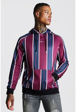 Mens Burgundy MAN Signature Vertical Stripe Raglan Hoodie