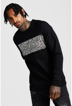 Black Leopard Front Panel Raglan Sweatshirt