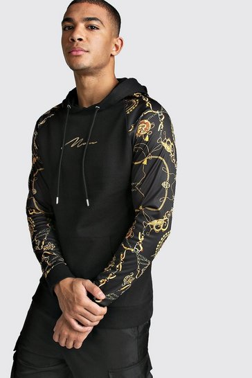 Mens Black MAN Signature Muscle Fit Baroque Sleeve Hoodie