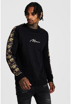 Mens Black MAN Signature Baroque Panel Sweatshirt