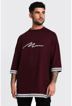 Mens Wine MAN Signature Oversized Drop Shoulder Tape T-Shirt