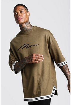 Mens Khaki MAN Signature Oversized Drop Shoulder Tape T-Shirt