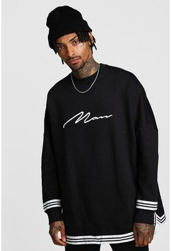 Black MAN Signature Oversized Drop Shoulder Sweat