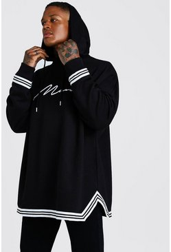 Mens Black MAN Signature Oversized Drop Shoulder Hoodie