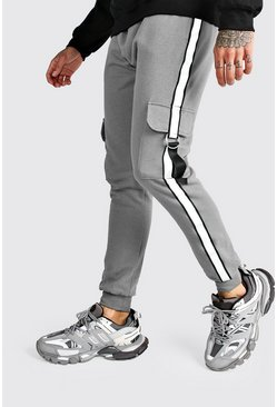 Herr Charcoal Jersey Cargo Joggers With Reflective Tape