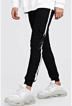 Mens Black Jersey Cargo Joggers With Reflective Tape