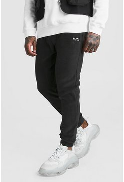 Mens Black MAN Skinny Fit Polar Fleece Joggers