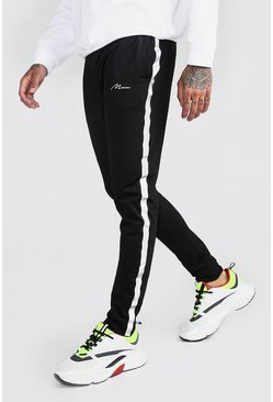 Black MAN Signature Tricot Jogger With Reflective Tape