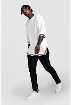 Mens White Oversized 3/4 Drop Shoulder MAN Tape Tracksuit