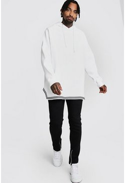Mens White Oversized Drop Shoulder Hooded Tape Tracksuit