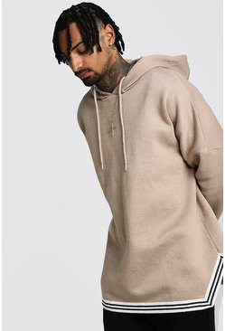 Taupe Oversized Drop Shoulder Hooded Tape Tracksuit