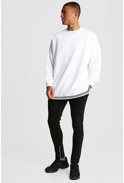 Mens Black MAN Oversized Drop Shoulder Sweater Tracksuit