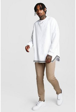Mens MAN Oversized Drop Shoulder Sweater & Taupe Jogger