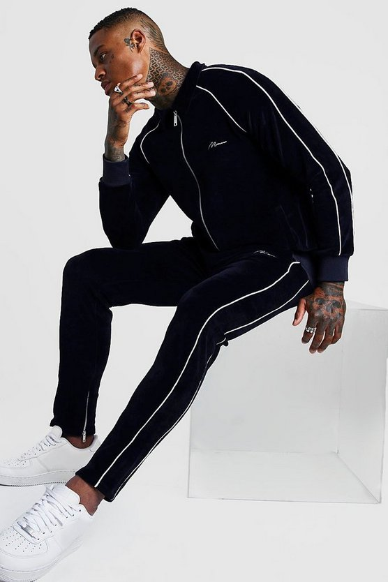 man-signature-tracksuit-with-piping by boohoo