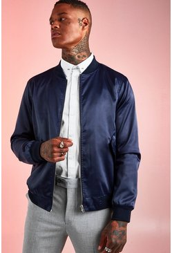 Herr Navy Satin MA1 Bomber Jacket