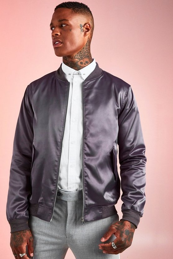 Charcoal Satin MA1 Bomber Jacket