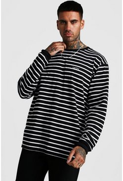 Mens Black MAN Loose Fit Striped Long Sleeve T-Shirt