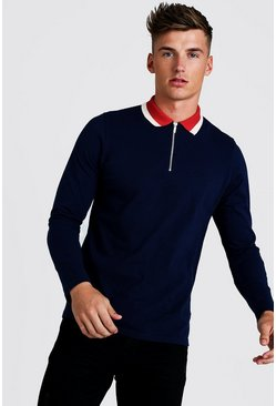 Mens Navy Long Sleeve Zip Polo With Contrast Collar
