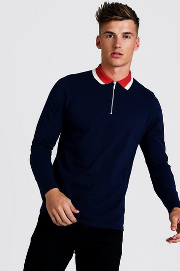 Navy Long Sleeve Zip Polo With Contrast Collar