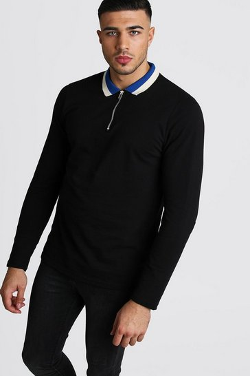Mens Black Long Sleeve Zip Polo With Contrast Collar