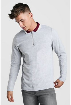 Mens Grey Long Sleeve Zip Polo With Contrast Collar