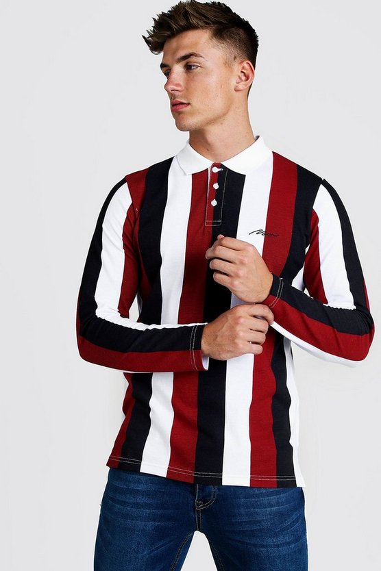Mens Red MAN Signature Stripe Pique Long Sleeve Polo
