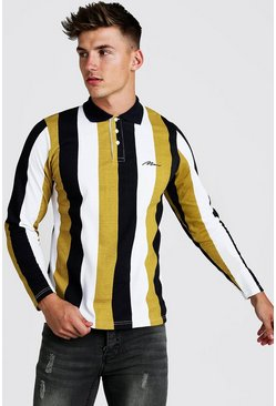 Mens Mustard MAN Signature Stripe Pique Long Sleeve Polo