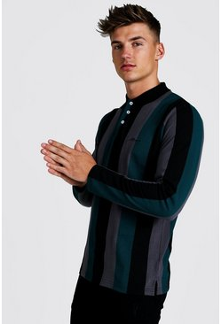Mens Teal MAN Signature Stripe Pique Long Sleeve Polo