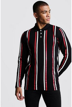 Mens Black Long Sleeve Vertical Stripe Polo