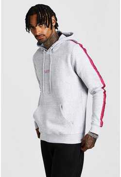 Mens Grey MAN Dash Taped Hoodie