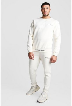 Mens Ecru MAN Official Embroidered Hem Sweater Tracksuit