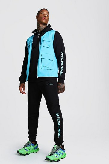 Mens Blue MAN Official 3 Piece Utility Vest Tracksuit