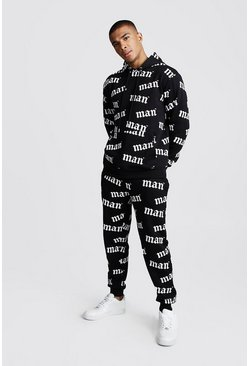 Mens Black MAN Official All Over Print Hooded Tracksuit