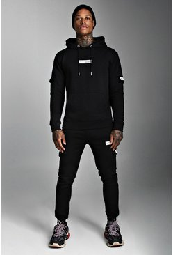 Black MAN Official Hooded Cargo Tracksuit With Badge