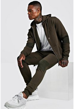 Mens Khaki MAN Signature Biker Zip Through Tracksuit