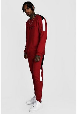 Mens Red MAN Official Colour Block Sweater Tracksuit