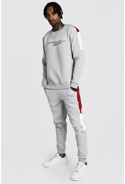 Mens Grey MAN Official Colour Block Sweater Tracksuit